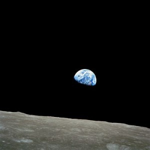 "Earthrise. Nature photographer Galen Rowell declared it ""the most influential environmental photograph ever taken."""